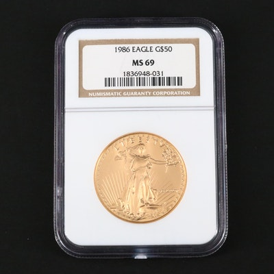 NGC Graded MS69 1986 $50 Gold Eagle Bullion Coin