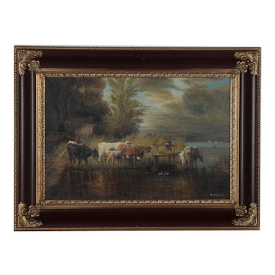 Oil Painting after Friedrich Voltz of Pastoral Landscape
