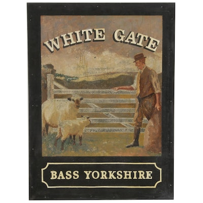"""Hand-Painted """"White Gate Bass Yorkshire"""" English Pub Sign"""