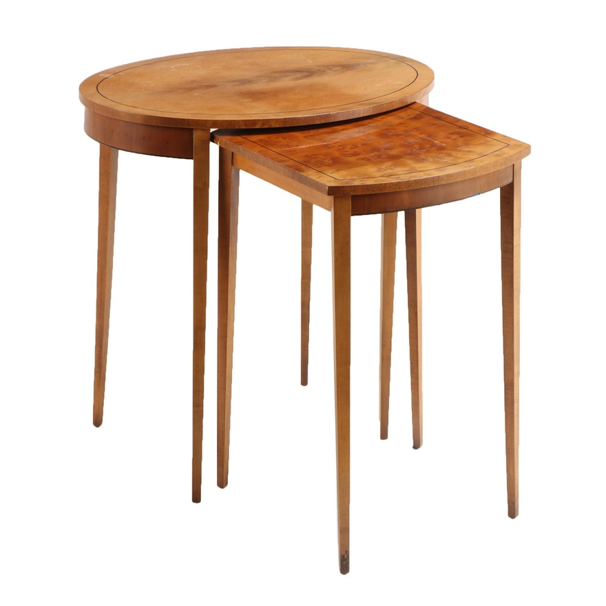 Two Baker Furniture George III Style String-Inlaid Yew Graduated Side Tables