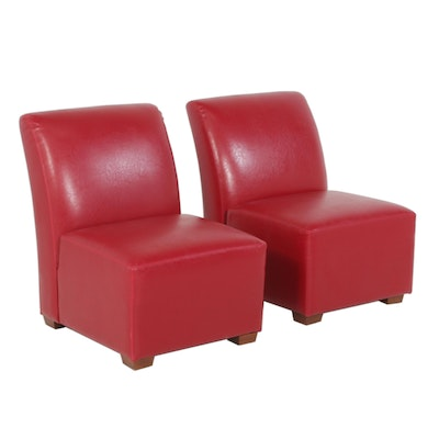 Pair of Red Leather Slipper Chairs, Contemporary