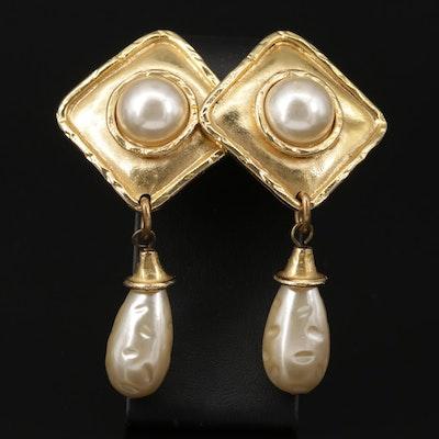 Vintage Edouard Rambaud of Paris Pearl Clip-On Dangle Earrings