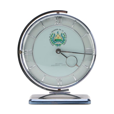 Mid Century Modern Metal Presentation Clock from José María Lemus, 1959