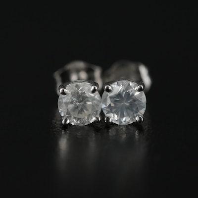 14K White Gold Diamond Solitaire Stud Earrings