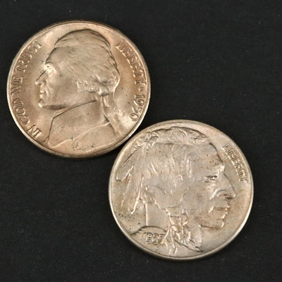 High Grade Key Date 1950-D Jefferson Nickel and 1937 Buffalo Nickel