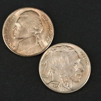 High Grade Key Date 1950-D Jefferson Nickel and 1937 Buffalo Nickel