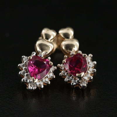 10K Yellow Gold Ruby and Diamond Heart Earrings