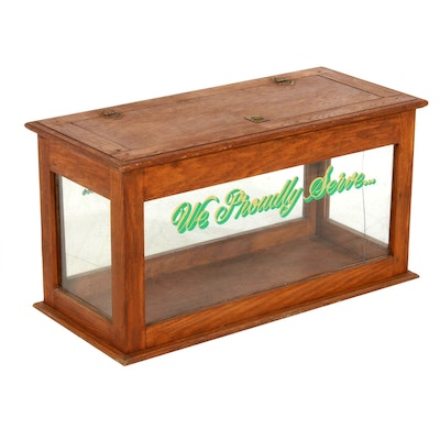 "Hand-Painted ""We Proudly Serve..."" Oak and Glass Counter Store Display"