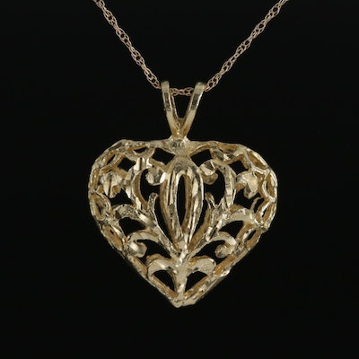 14K Yellow Gold Open Diamond Cut Puff Heart Pendant Necklace
