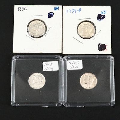Four High Grade Mercury Silver Dimes