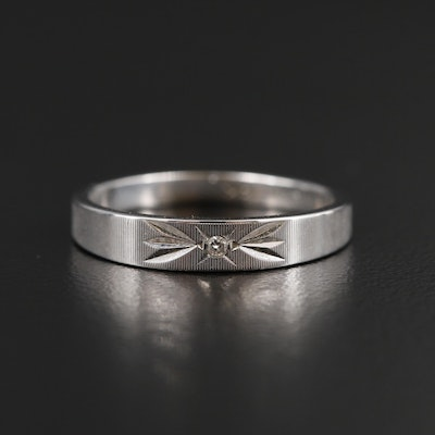 14K White Gold Band with 0.01 CT Diamond Accent