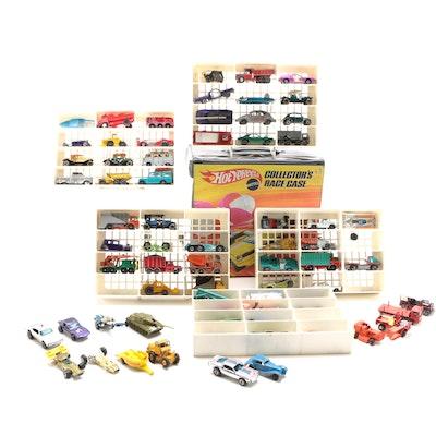"""Mattel """"Hot Wheels"""" Diecast Toy Cars in Vinyl Storage Case, Circa 1960s-1970s"""