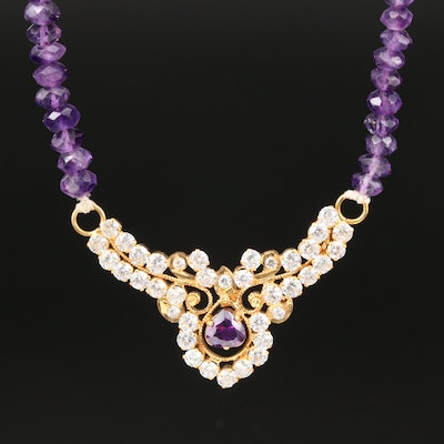 18K Yellow Gold Amethyst and Cubic Zirconia Necklace
