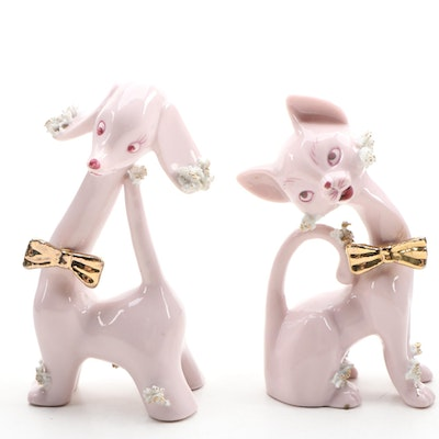 Japanese Pink Porcelain Cat and Dog Figurines, 1950s