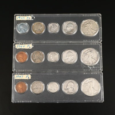 Three Vintage U.S. Type Coin Year Sets, 1943 to 1947