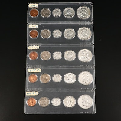 Five Vintage U.S. Type Coin Year Sets, 1955 to 1959