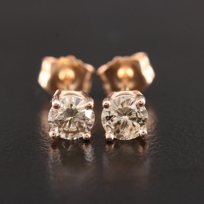 14K Rose Gold Diamond Solitaire Stud Earrings