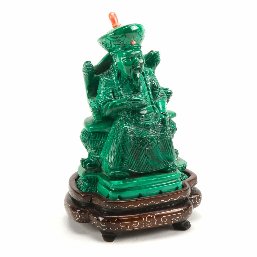 Chinese Malachite Emperor Carving, Late 20th Century