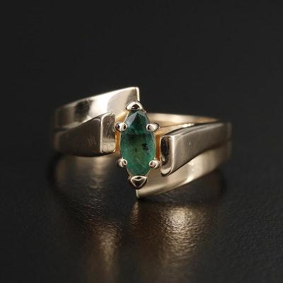 14K Yellow Gold Emerald Bypass Ring