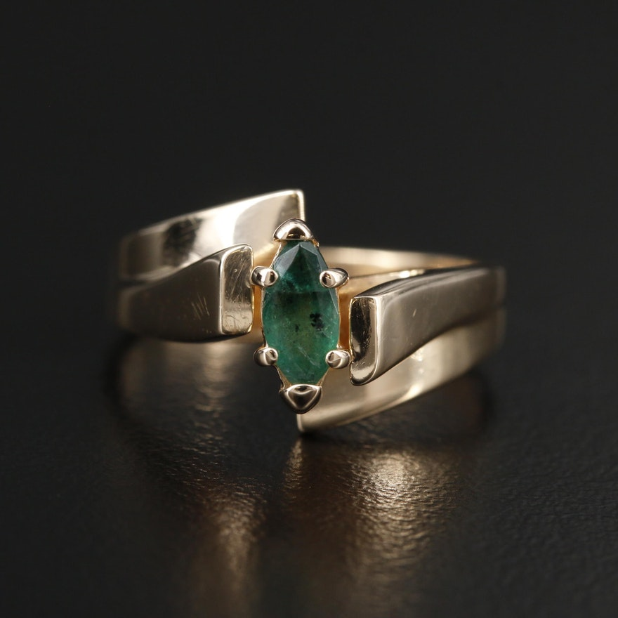 14K Yellow Gold Emerald Bypass Ring