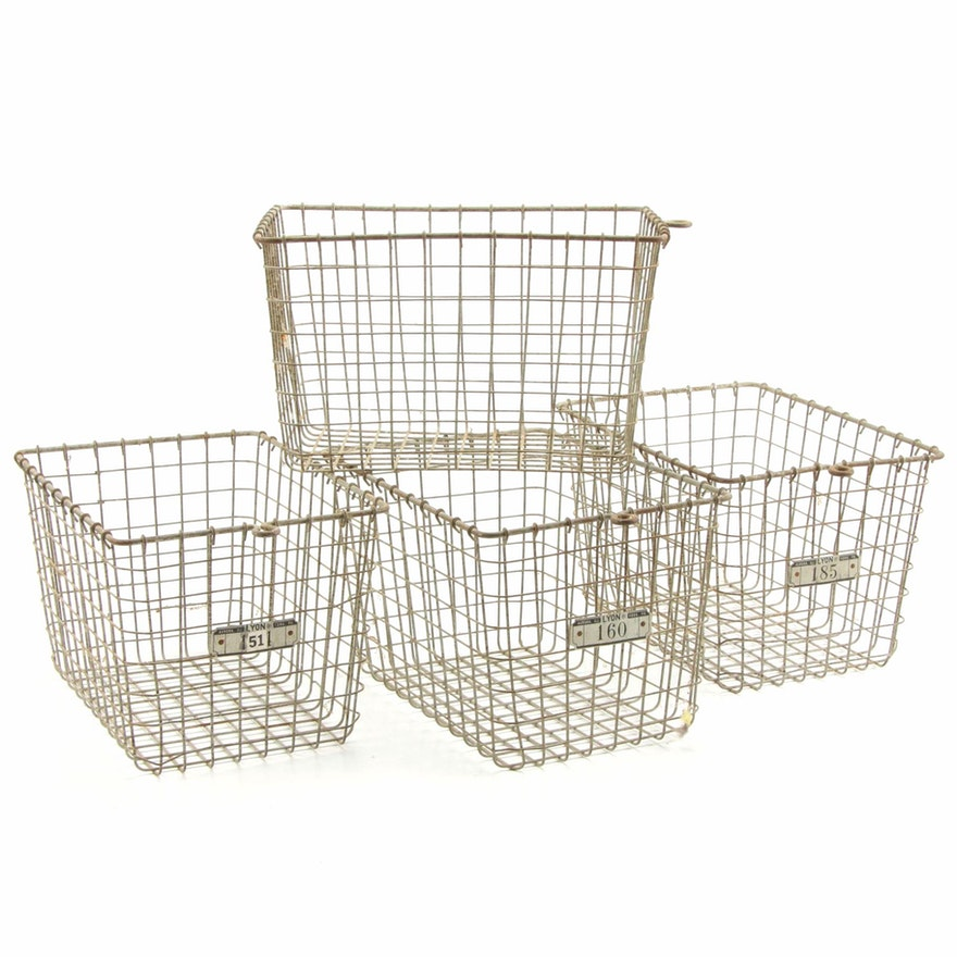 Four Lyon Industrial Wire Storage Baskets, Mid to Late 20th Century
