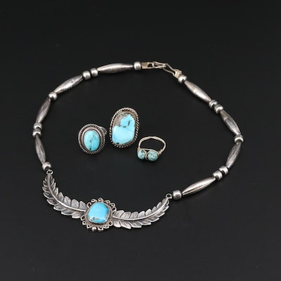 Southwestern Style Sterling Silver Turquoise Necklace and Rings