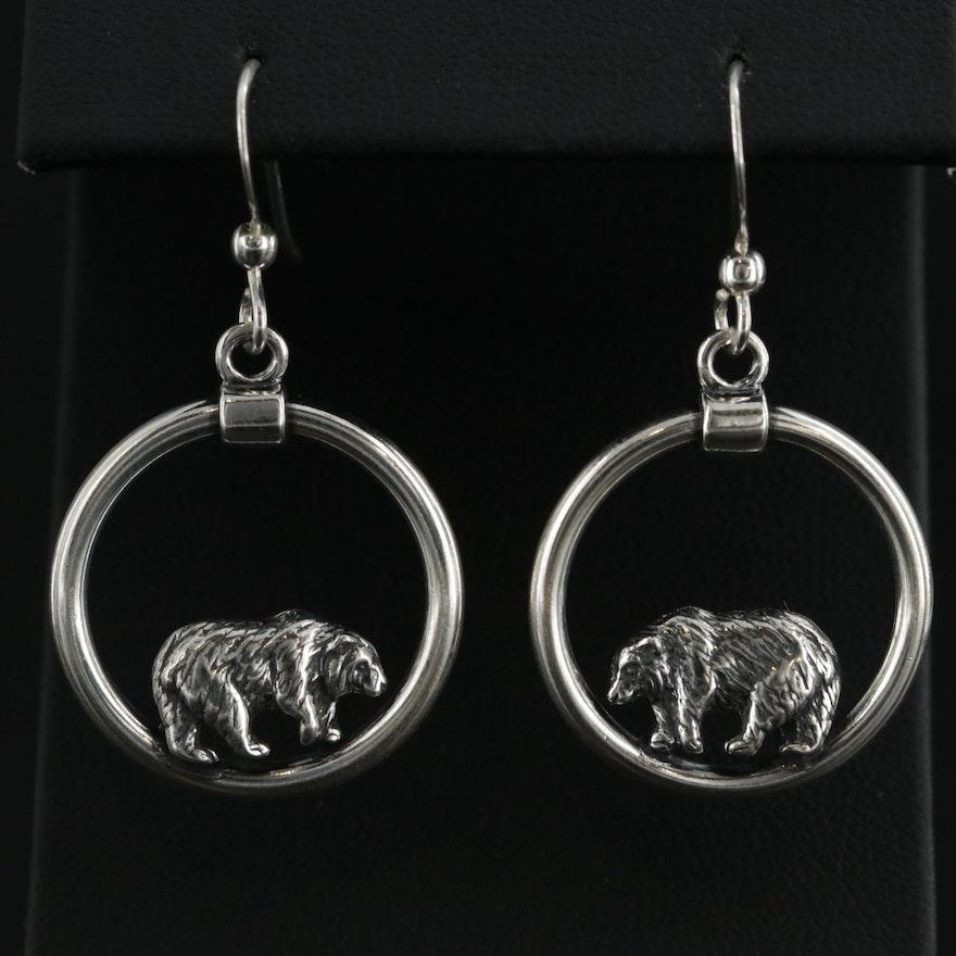 Kabana Sterling Silver Bear Earrings