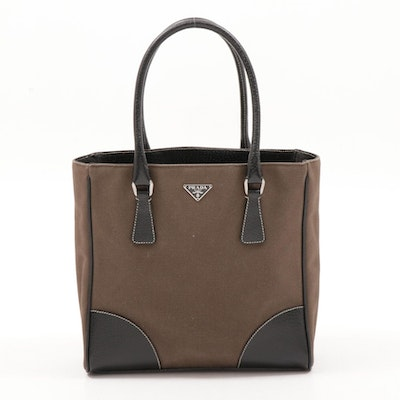 Prada Canvas and Black Leather Top Handle Tote Bag with Contrast Stitching