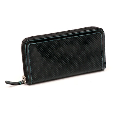 Fendi Perforated Contrast Patent Leather Continental Zip Wallet