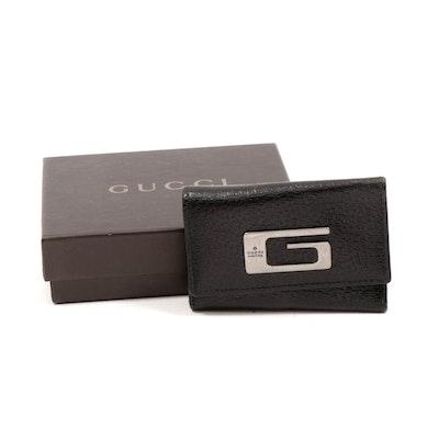 Gucci G Logo Black Leather Key Wallet