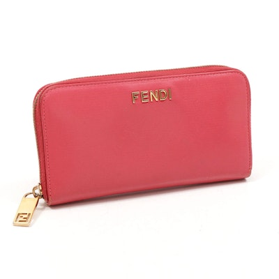 Fendi Pink Leather Continental Zip Wallet