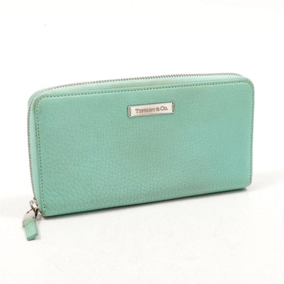 Tiffany & Co. Pebbled Leather Continental Zip Wallet