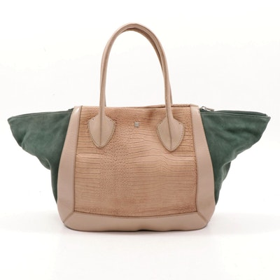Pour La Victoire Maison Croc-Embossed Leather Tote Handbag