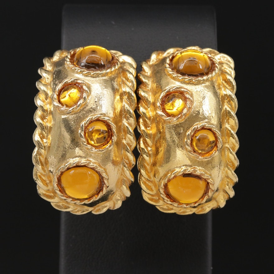 Escada Glass Cabochon Clip-On Earrings