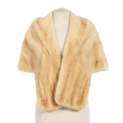Blond Mink Fur Stole From R.L. Tolliver Fine Furs, Vintage