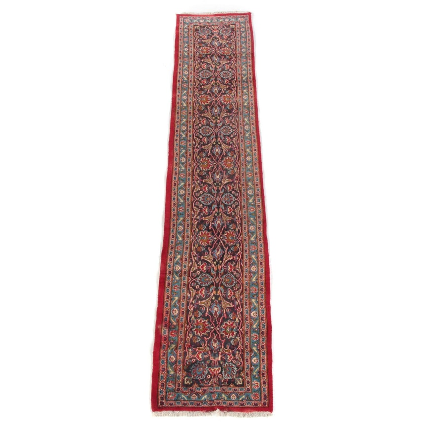 2'6 x 13'0 Hand-Knotted Persian Kashan Wool Carpet Runner