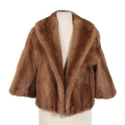 Pastel Mink Open Front Fur Jacket with Three-Quarter Length Sleeves