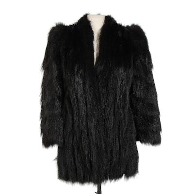Annis Furs Dyed Black Raccoon Fur Coat