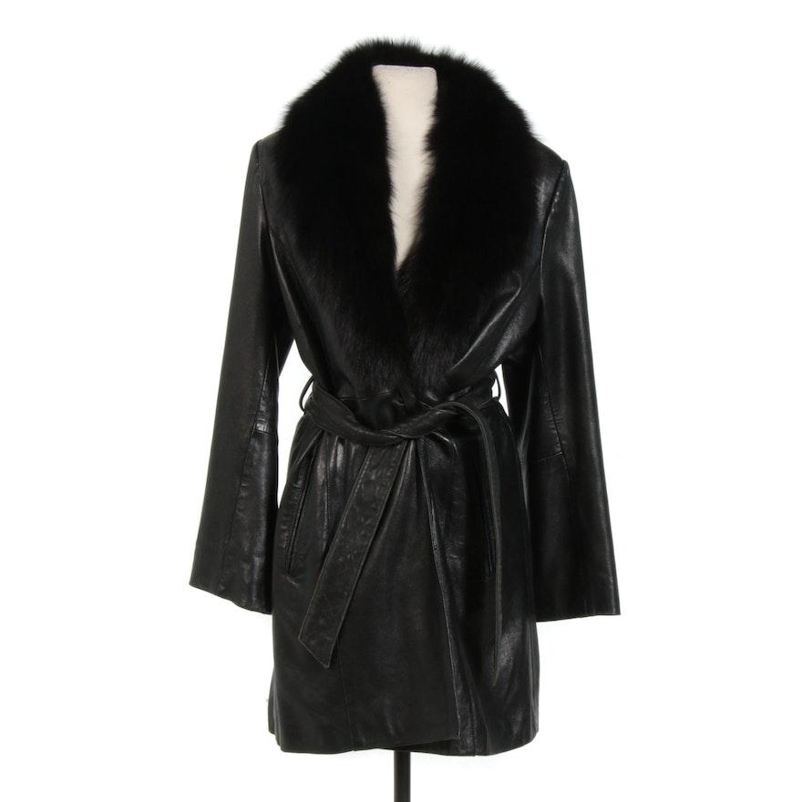 Kasper Black Leather Belted Stroller with Fox Fur Collar