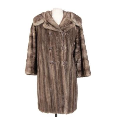 Graphite Mink Fur Double-Breasted Coat from Jack Slade Furs, Vintage