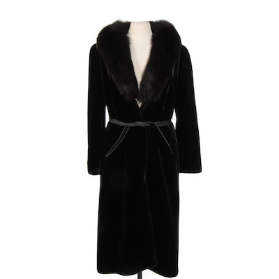"Ultra-Seal ""Sportowne"" Black Faux Fur Belted Coat with Fox Fur Collar"