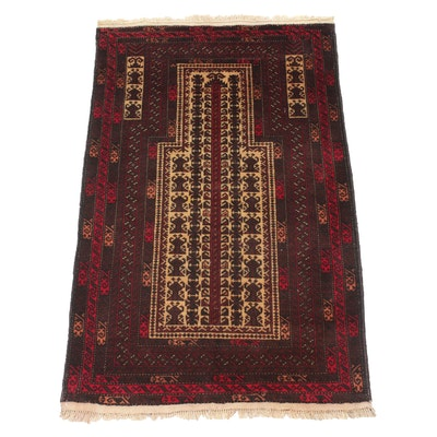 2'10 x 4'9 Hand-Knotted Persian Balouch Rug, 1980s