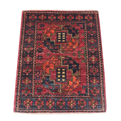 2'2 x 3' Hand-Knotted Afghani Turkoman Rug, 2010s