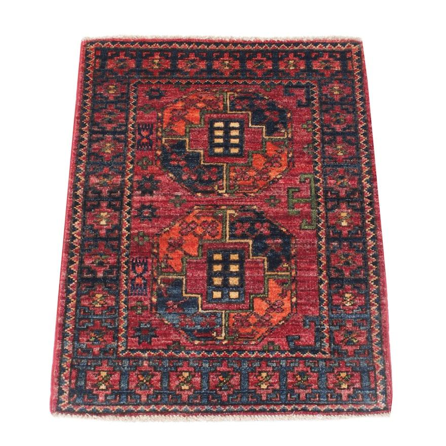2'2 x 3' Hand-Knotted Afghani Turkoman Rug, 2010s