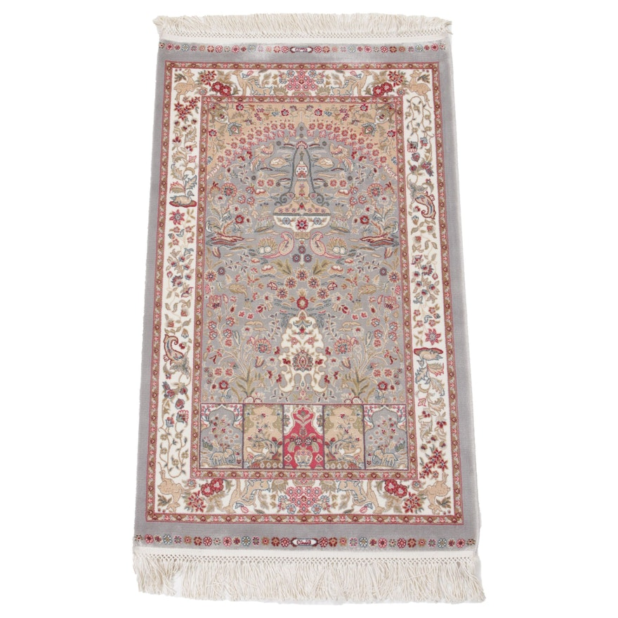 1'11 x 3'9 Hand-Knotted Turkish Art Silk Pictorial Rug, 2010s
