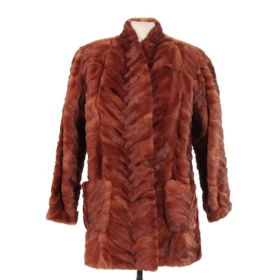 Sheared Patterned Mink Fur Coat from Madame Lina International