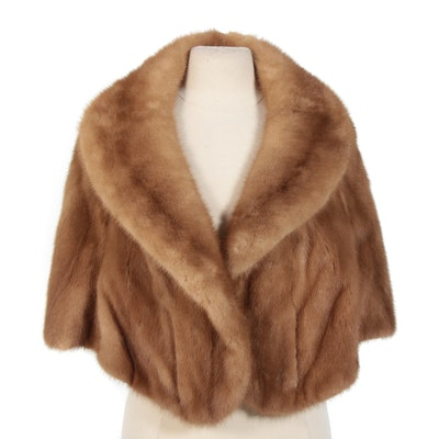 Blonde Mink Fur Capelet with Shawl Collar, Vintage