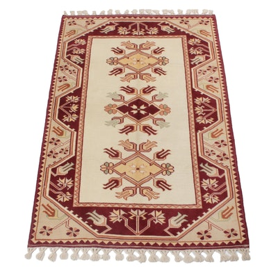 4' x 7'5 Hand-Knotted Turkish Milas Rug, 1970s