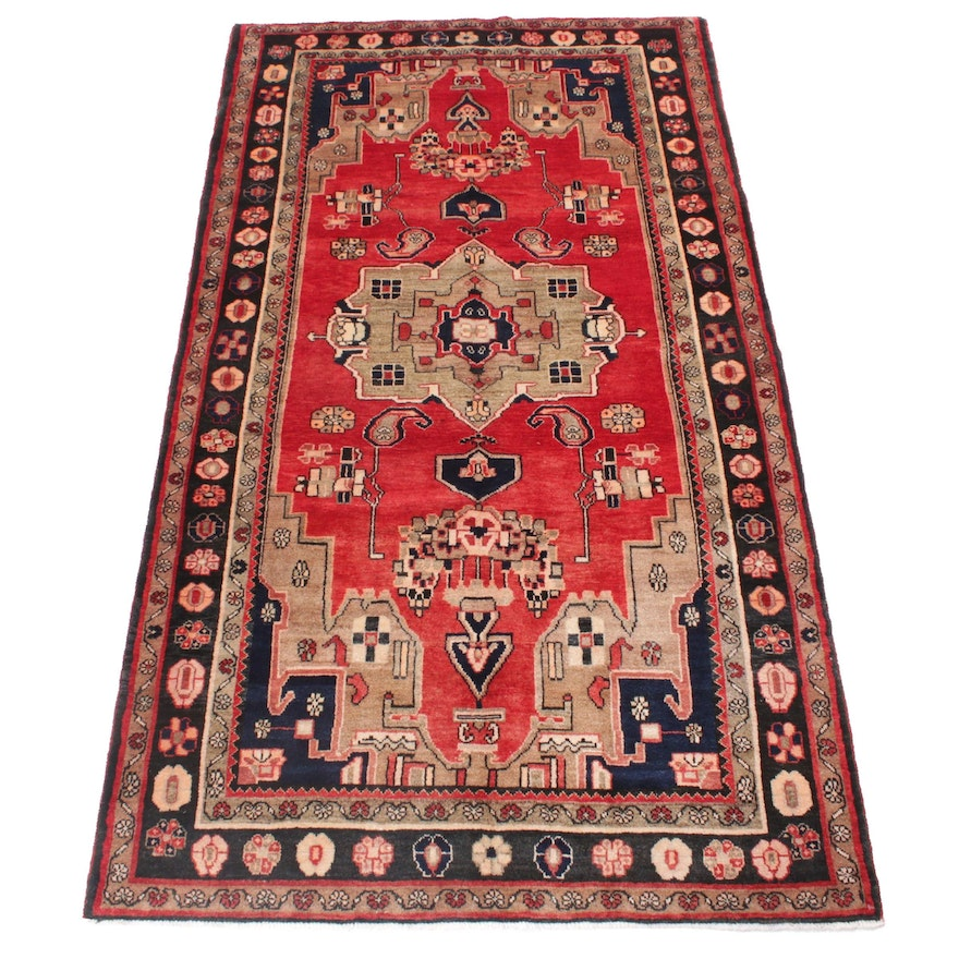 4'10 x 8'6 Hand-Knotted Persian Malayer Rug, 1960s