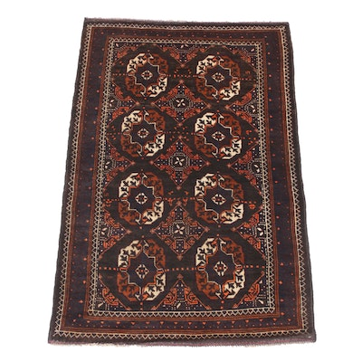 2'11 x 4'5 Hand-Knotted Persian Turkoman Rug, 2000s